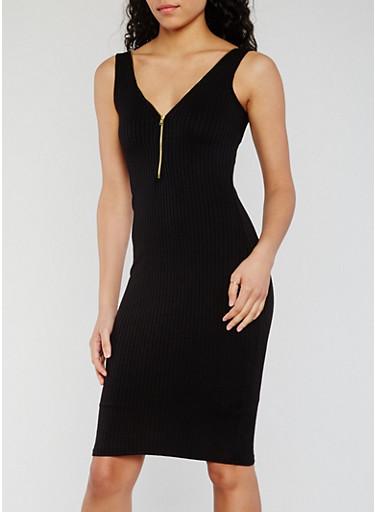 Sleeveless Half Zip Rib Knit Bodycon Dress,BLACK,large