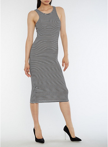 Striped Racerback Tank Dress,BLACK/WHITE,large