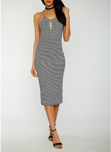 Striped Rib Knit Tank Dress with Keyhole,BLACK,large