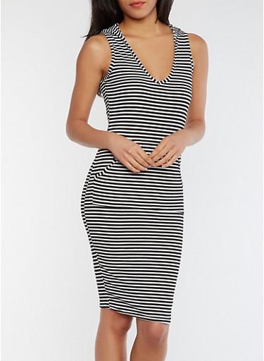 Striped Rib Knit Midi Dress with Hood,BLACK/WHITE,large
