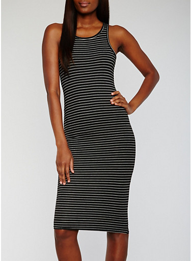 Striped Rib Knit Racerback Midi Dress,BLACK/WHITE,large