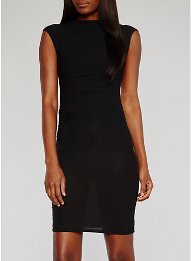 Cap Sleeve Bodycon Dress with Ruched Sides,BLACK,large