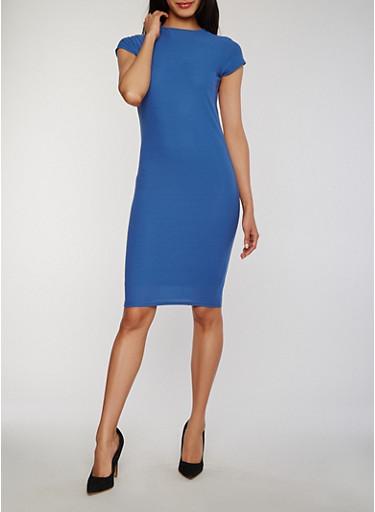 Soft Knit Cap Sleeve Mock Neck Bodycon Dress,DENIM,large