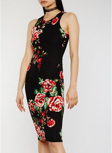 Floral Midi Racerback Bodycon Dress,BLACK,large