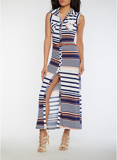 Striped Button Front Maxi Dress with Belt,NAVY/CORAL,large