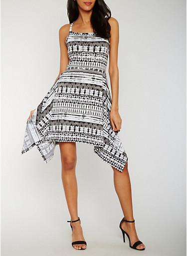 Printed Dress with Asymmetrical Hem,BLACK,large