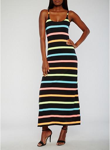 Sleeveless Multi Color Striped Maxi Dress,BLACK MULTI,large