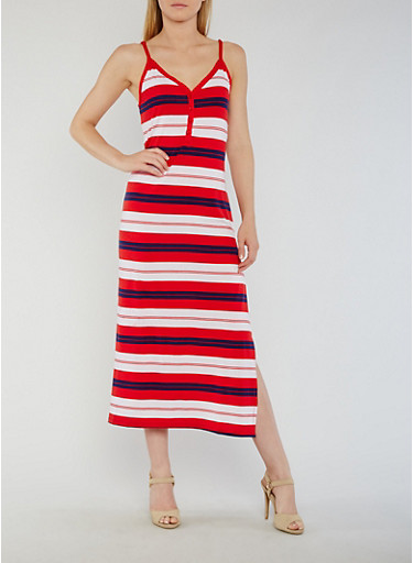 Striped Henley Maxi Dress with Side Slit,RED/NAVY/WHITE,large