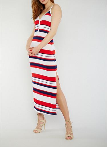 Sleeveless Striped V Neck Maxi Dress with Side Slit,WHITE,large