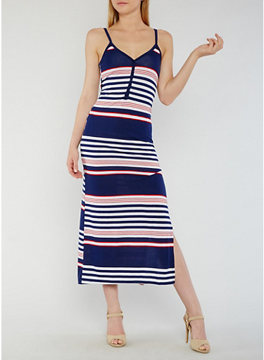 Striped Henley Maxi Dress with Side Slit,NAVY,large