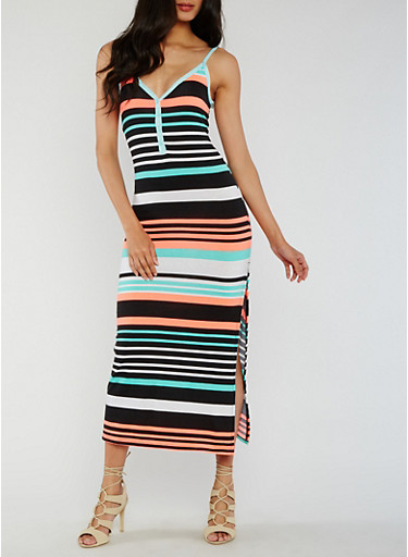 Striped Henley Maxi Dress with Side Slit,BLACK/CORAL,large