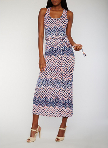 Printed Maxi Dress with Ties Waist,NAVY/PEACH,large