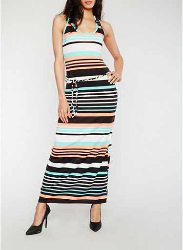 Striped Racerback Tank Dress with Belt,BLACK,large
