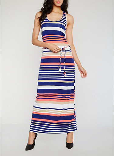 Striped Racerback Tank Dress with Belt,NAVY,large
