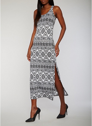Printed Side Slit Racerback Maxi Dress,BLACK/WHITE,large