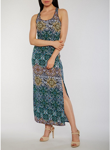 Printed Scoop Neck Maxi Tank Dress with Side Slits,BLUE,large