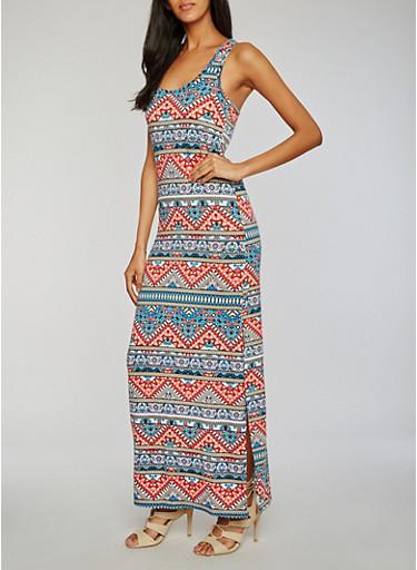 Printed Side Slit Maxi Dress,BLUE/RED,large