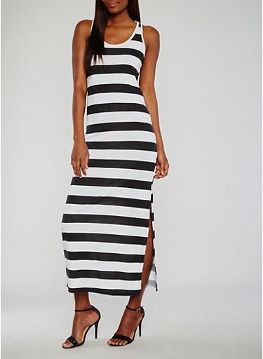 Stripe Racerback Maxi  Dress,BLACK/WHITE,large
