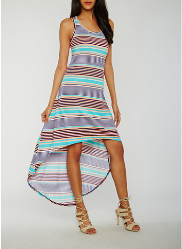 Striped High Low Racerback Tank Dress,NAVY/AQUA/PEACH,large