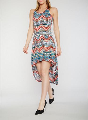 Sleeveless Printed High Low Tank Dress,AQUA,large