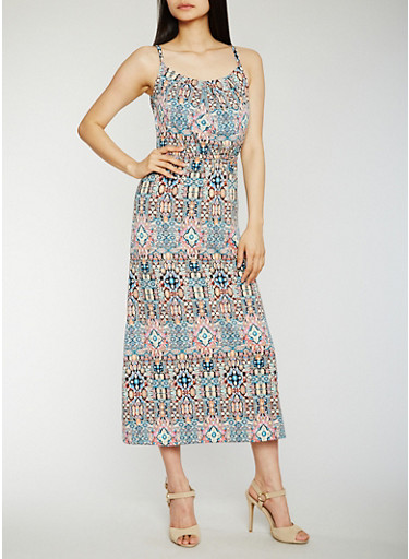 Printed Maxi Dress with Cinched Waist,BLUE,large