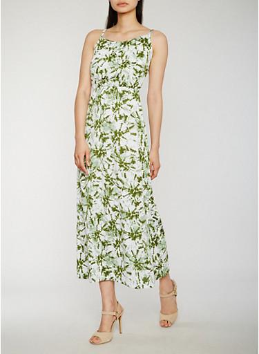 Sleeveless Tie Dye Maxi Dress,OLIVE,large