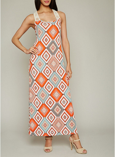 Printed Maxi Dress with Crochet Detail,RED/GREY,large