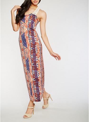 Printed Crochet Racerback Maxi Dress,RUST/DENIM,large