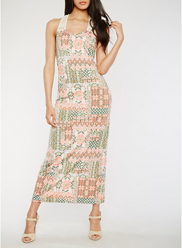 Printed Maxi Dress with Crochet Straps,CORAL/GREEN,large