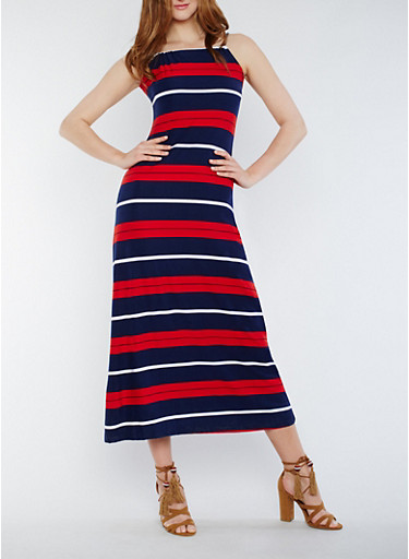Striped Sleeveless Maxi Dress with Back Keyhole,NAVY,large