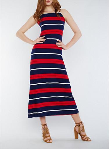 Striped Sleeveless Maxi Dress with Back Keyhole,NAVY,large