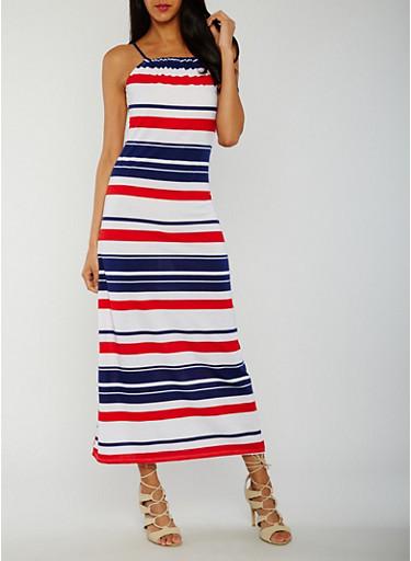 Americana Striped Maxi Tank Dress,WHITE,large