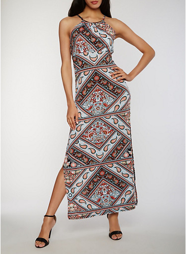 Paisley Print Maxi Dress with Metal Neckline Detail,CORAL/MINT,large
