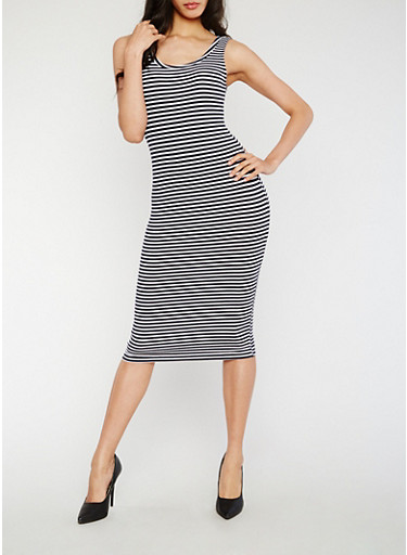 Striped Rib Knit Tank Dress,WHITE/NAVY,large