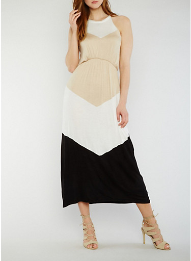Sleeveless Color Block Maxi Dress,KHAKI,large