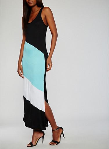 Sleeveless Color Block Maxi Dress,BLACK,large