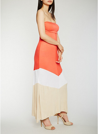 Strapless Color Block Maxi Dress,WHT/KHAKI/CORAL,large