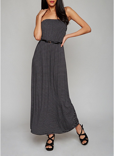 Strapless Striped Maxi Dress with Belt,BLACK/WHITE,large
