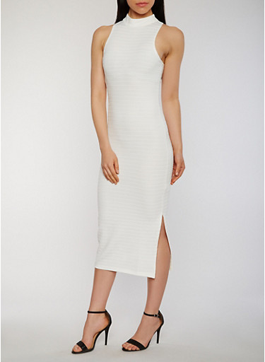Mid Length Bandage Dress with Side Slit,IVORY,large