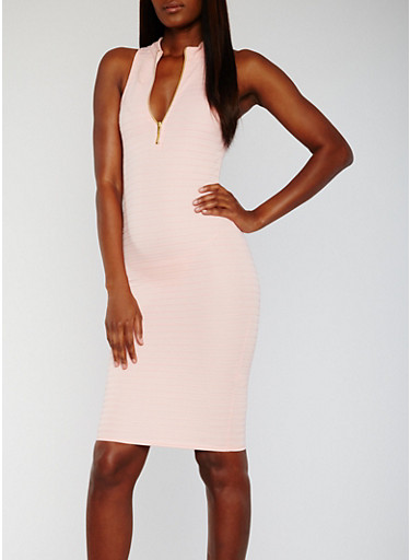 Sleeveless Half Zip Racerback Bandage Dress,DUSTY PINK,large