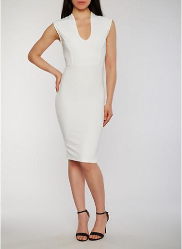 Cap Sleeve V Neck Bandage Dress,IVORY,large