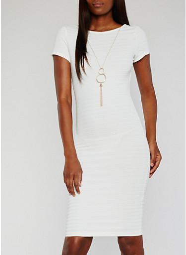 Open Back Bandage Dress with Necklace,IVORY,large