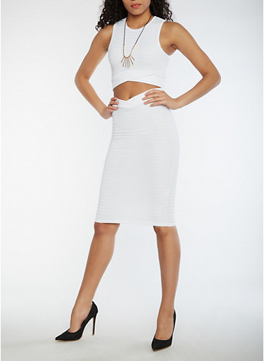 Sleeveless Crop Top and Skirt Set with Necklace,WHITE,large