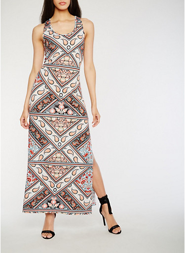 Printed Racerback Maxi Dress with Side Slits,GREEN/CORAL,large