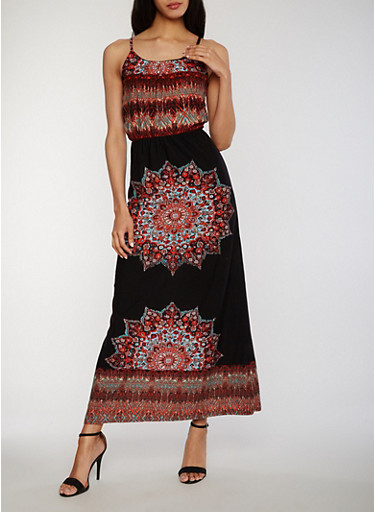 Printed Sleeveless Maxi Dress with Back Keyhole,BLACK,large