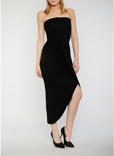 Tube Dress with Faux Wrap Overlay,BLACK,large