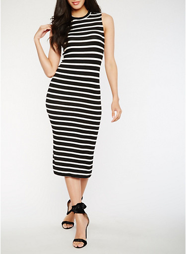 Striped Midi Tank Dress,BLACK/WHITE,large