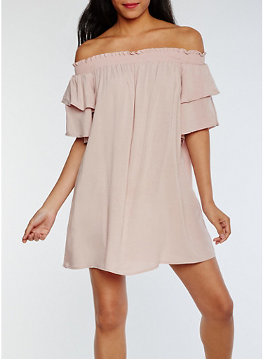 Tiered Sleeve Off the Shoulder Shift Dress,BLUSH,large