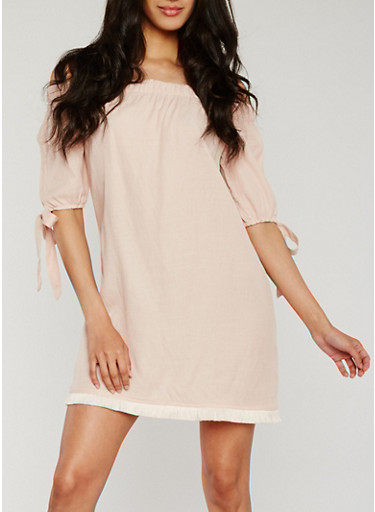 Off the Shoulder Dress with Frayed Hem,BLUSH,large