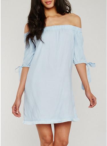 Off the Shoulder Dress with Frayed Hem,SKY BLUE,large